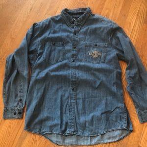 Harley Davidson button down Jean shirt